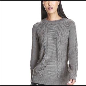 Gray Cable Knit Textured Oversized Sweater XL